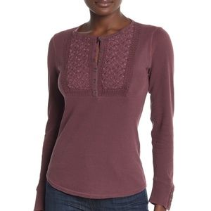 Lucky Brand Blouse Embroidered Thermal Sz XS